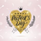 Happy mother`s day - Greeting card. Brush calligraphy on a glitter gold shinning heart and hand drawn floral decor. Stock Photo