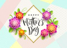 Happy mother`s day - Greeting card. Brush calligraphy greeting and flowers. Stock Photos