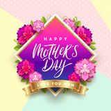 Happy mother`s day - Greeting card. Brush calligraphy greeting and flowers on a pattern background. Royalty Free Stock Photography