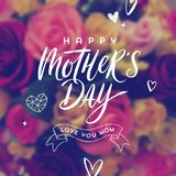 Happy mother`s day - Greeting card. Brush calligraphy greeting and hand drawn hearts on a blurred flowers background. Vector illustration Stock Photos
