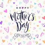 Happy mother`s day - Greeting card. Brush calligraphy on a hand drawn hearts pattern background. Vector illustration Royalty Free Stock Photos