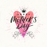 Happy mother`s day - Greeting card. Brush calligraphy on a hand drawn shinning heart . Vector illustration Stock Photos