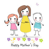 Happy Mother's day greeting card with cartoon kids and mother vector illustration Royalty Free Stock Photos