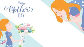 Happy mother`s day greeting card. Child daughter congratulates mom and gives her flowers tulips. Vector illustration flat design stock illustration