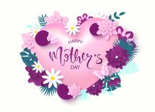 Happy Mother`s Day greeting card design with beautiful blossom flowers, heart, butterflies and lettering. Design layout. For invitation, greeting card, ad Stock Photo