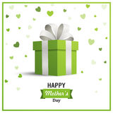Happy Mother`s Day Greeting Card Design. Illustration of a Happy Mothers Day Greeting Card Design with a Green Gift Box and Heart Confetti Royalty Free Stock Images