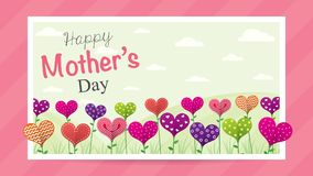 Happy Mother`s Day greeting card. Field of flowers in the shape of a heart of different colors inside a white frame. On a pink background. Image with space to Royalty Free Illustration