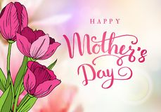 Happy mother`s day. Greeting card with mother`s day. Floral background. Vector illustration. Happy mother`s day. Greeting card with mother`s day. Floral Stock Illustration
