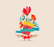 Happy Mother's Day. Greeting card. flower and gift boxes Stock Photo