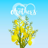 Happy Mother's day greeting card with flowers, heart and calligraphy on the blue background. Stock Photography