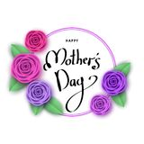 Happy mother`s day greeting card with flowers, lettering. Roses for banners,  posters, brochure, voucher discount, sale advertisement template.  Floral Royalty Free Stock Photos