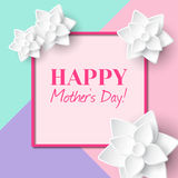 Happy Mother`s Day. Greeting card with frame and flowers Stock Photography