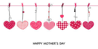 Happy Mother's day greeting card. Hanging cute valentine hearts vector background Royalty Free Stock Images