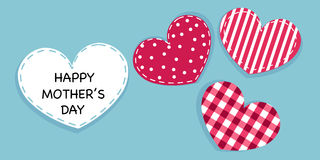 Happy Mother's day greeting card. Hanging cute valentine hearts vector background Royalty Free Stock Photo