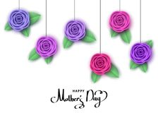 Happy mother`s day greeting card with hanging flowers. Happy mother`s day greeting card with hanging  roses.  Flowers for banners,  posters, brochure, voucher Stock Photography