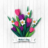 Happy Mother`s day greeting card. Paper cut flowers tulips and narcissus, holiday background. Vector illustration Stock Photography