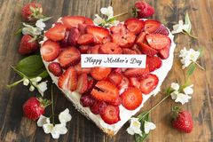 Happy Mother`s Day,  Greeting Card,  with Heart Cheesecake with Royalty Free Stock Photography