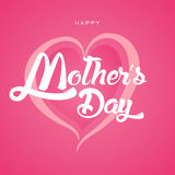 Happy Mother`s Day Greeting Card. Lettering calligraphy inscription. On heart vector illustration Royalty Free Stock Photo