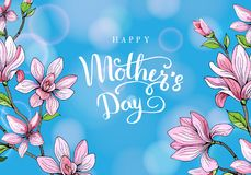 Happy mother`s day. Greeting card with mother`s day. Floral background. Vector illustration. Stock Images