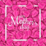 Happy Mother`s Day. Greeting Card Of Pink Rose Petals. Petals Of Flowers. I Love Mother. Frame With Calligraphic Text. Vector Ill