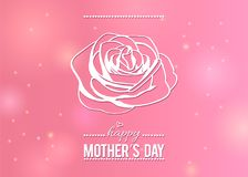 Happy Mother`s day greeting card with outline rose on beauty pink background Stock Photos