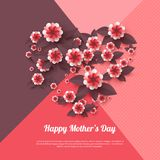 Happy Mother`s day greeting card. Paper cut flowers, holiday background. Vector illustration Stock Photos