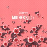Happy Mother`s day greeting card. Paper cut flowers, holiday background. Vector illustration Royalty Free Stock Image
