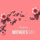 Happy Mother`s day greeting card. Paper cut flowers, holiday background. Vector illustration Royalty Free Stock Images