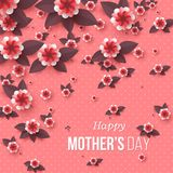 Happy Mother`s day greeting card. Paper cut flowers, holiday background. Vector illustration Stock Photo