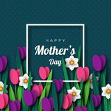 Happy Mother`s day greeting card. Paper cut flowers tulips and narcissus, holiday background. Vector illustration Stock Images