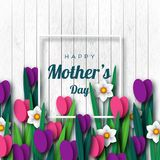 Happy Mother`s day greeting card. Paper cut flowers tulips and narcissus, holiday background. Vector illustration Royalty Free Stock Photo