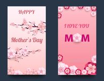 Happy Mother`s Day Greeting Card, Paper cut with Spring Flowers on Light Background. Vector illustration. Place for your Text Royalty Free Stock Photography