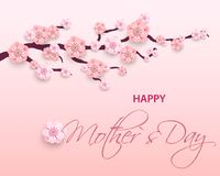 Happy Mother`s Day Greeting Card, Paper cut with Spring Flowers on Light Background. Vector illustration. Place for your Text Stock Images