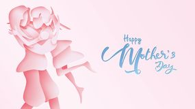 Happy mother`s day greeting card. Paper cut style Child daughter running and hugging to her mum to congratulate in pink backgroun vector illustration