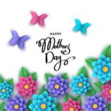 Happy mother`s day greeting card  with paper  flowers, butterfli. Happy mother`s day greeting card  with paper cut  flowers, butterflies, lettering. Summer or Stock Images