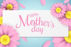 Happy Mother`s Day. Greeting card. Pink chamomile flowers in a white frame on a light background. Black text. Cover for your desi. Gn. Romantic love background Stock Image