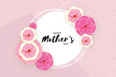 Happy Mother`s Day Greeting card. Pink Pastel Paper cut Flower. Circle Frame. Space for text. royalty free illustration