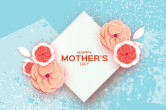 Free Happy Mother`s Day Greeting Card. Red Orange Cut Flower. Rhombus Frame. Space For Text. Stock Photos - 91702343