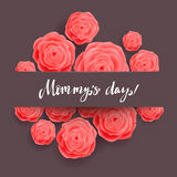 Happy Mother's Day Greeting Card. Rose Flowers. Royalty Free Stock Images