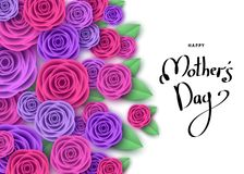 Happy mother`s day greeting card with roses, lettering. Flowers for banners,  posters, brochure, voucher discount, sale advertisement template.  Floral Stock Photo