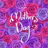 Happy mother`s day greeting card with roses and  lettering. Flowers for banners,  posters, brochure, voucher discount, sale advertisement template.  Floral Royalty Free Stock Photo