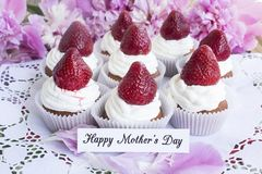 Happy Mother`s Day,  Greeting Card,  with Strawberries  Cupcakes Royalty Free Stock Images