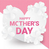 Happy mother`s day greeting card on sweet team - Pink text with white paper flowers on heart paper. Vector illustration. Stock Photography