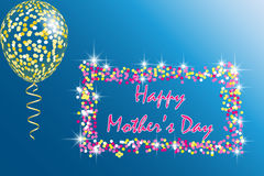 Happy Mother`s Day Greeting Card with transparent balloon, spangles, confetti and streamers Stock Photo