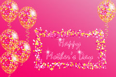 Happy Mother`s Day Greeting Card with transparent balloons, spangles, confetti and streamers Stock Image