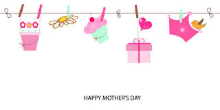 Happy Mother's Day greeting card. Watering flower fairy and balloon vector background Stock Photos