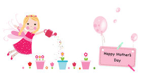 Happy Mother's Day greeting card. Watering flower fairy and balloon vector background Stock Photo
