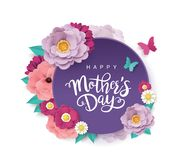 Happy Mother`s Day greeting design. Happy Mother`s Day greeting card with beautiful blossom flowers stock illustration