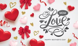Happy Mother`s Day greeting design. Happy Mother`s Day poster with ribbons, hearts and lettering design Stock Photo