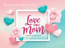 Happy Mother`s Day greeting design. Happy Mother`s Day poster design with roses, 3D hearts and abstract background Stock Photography
